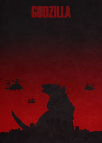 2010's Movie - GODZILLA RED canvas print - self adhesive poster - photo print